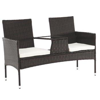 Záhradná lavica so stolíkom a poduškami, hnedá/krémová, LALIT