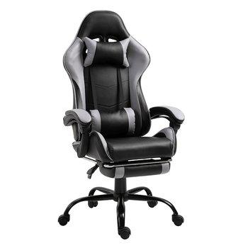 Kancelárske/herné kreslo s podnožou, čierna/sivá, TARUN