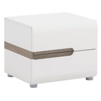 Nočný stolík, biela extra vysoký lesk HG/dub sonoma tmavý truflový, LYNATET TYP 96