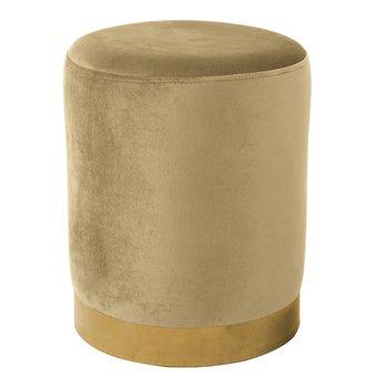 Taburet, béžová Velvet látka/gold chróm-zlatá, ALAZ
