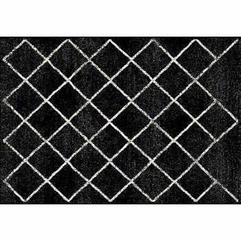Koberec, čierna/vzor, 67x120 cm, MATES TYP 1