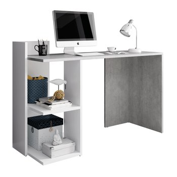 PC stôl, betón/biely mat, ANDREO