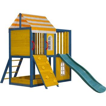 Drevený záhradný domček/záhradné ihrisko pre deti so šmykľavkou a lezeckou stenou, MANAS