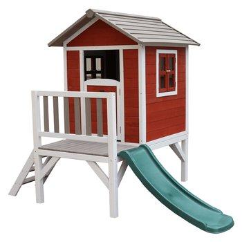 Drevený záhradný domček pre deti so šmykľavkou, červená/sivá/biela, MAILEN