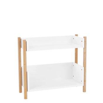 2-poličkový regál, prírodný bambus/biela, BALTIKA TYP 1