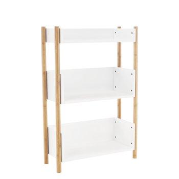 3-poličkový regál, prírodný bambus/biela, BALTIKA TYP 2