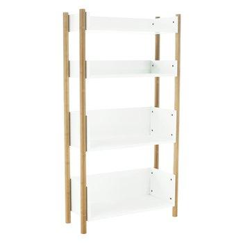 4-poličkový regál, prírodný bambus/biela, BALTIKA TYP 3