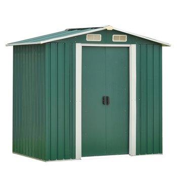 Plechový záhradný domček na náradie, zelená/biela, 2x1,3x1,8 m, HAMAL TYP 1