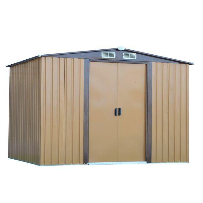 Plechový záhradný domček na náradie, svetlohnedá/tmavohnedá, 2,6x2m, HAMAL TYP 2