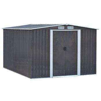 Plechový záhradný domček na náradie, sivá/biela, 2,6x3,1m, HAMAL TYP 3