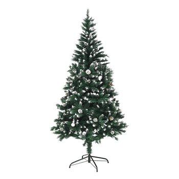 Vianočný stromček so šiškami, posnežený, 180 cm, CHRISTMAS TYP 4
