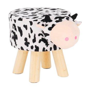 Taburet v tvare kravičky, látka Velvet biela/čierna/prírodná, MOLLY