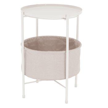 Príručný stolík s odnímateľnou táckou, biela/hnedá, FANDOR