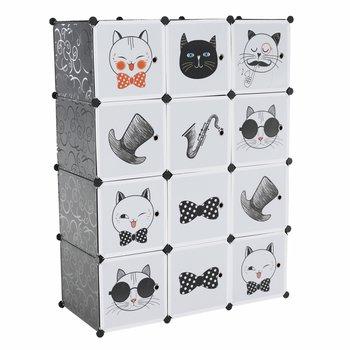 Detská modulárna skriňa, sivá/detský vzor, AVERON
