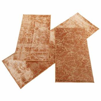 Spálňový set 3 ks, moderný koberec, béžová/zlatý vzor, RAKEL TYP 3
