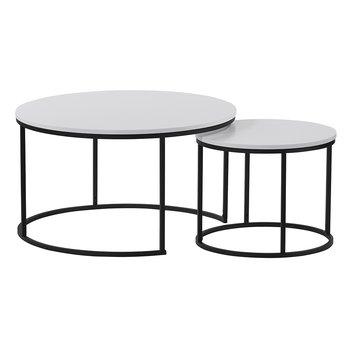 Set dvoch konferenčných stolíkov, biela/čierna, IKLIN