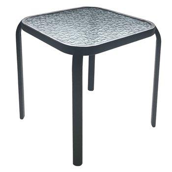 Záhradný príručný stolík, čiena oceľ/tvrdené sklo, RAMOL