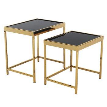 Set 2 konferenčných stolíkov, gold chróm zlatá/čierna, VITOR