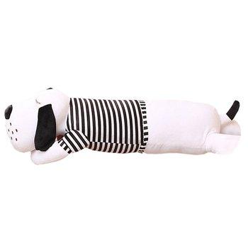 Plyšový psík, biela/čierny pásik, 50cm, REXO typ 1