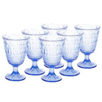 Vintage sklené poháre na víno, 6ks, 220ml, modrá, LEGACY