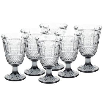 Vintage sklené poháre na víno, 6ks, 220ml, sivá, LEGACY