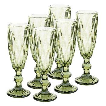 Retro sklené poháre na šampanské, 6ks, 150ml, zelená, BAROLO TYP 4