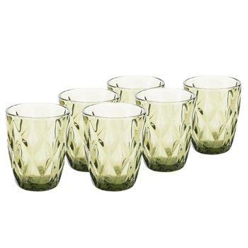 Retro sklené poháre na vodu, 6ks, 240ml, zelená, BAROLO TYP 2