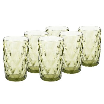 Retro sklené poháre na vodu, 6ks, 350ml, zelená, BAROLO TYP 1