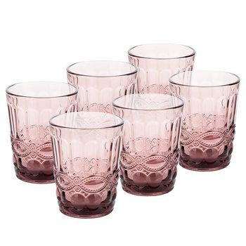 Poháre na vodu, set 6 ks, 240 ml, ružová, vintage, FREGATA TYP 2