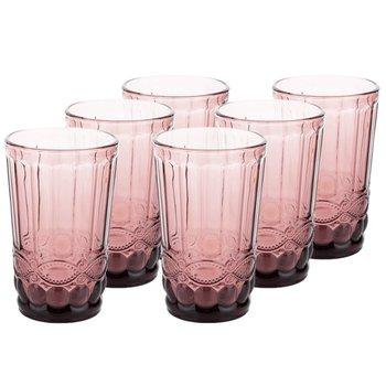 Poháre na vodu, set 6 ks, 350 ml, ružová, vintage, FREGATA TYP 1