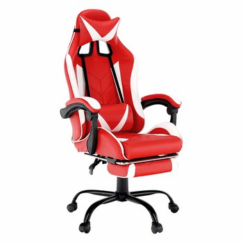 Kancelárske/herné kreslo, čierna/biela/červená, OZGE NEW