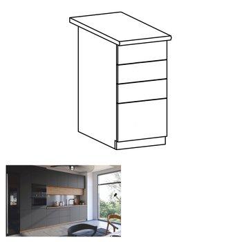 Spodná skrinka, dub artisan/sivý mat, s otváraním PUSH UP, LANGEN D40S3