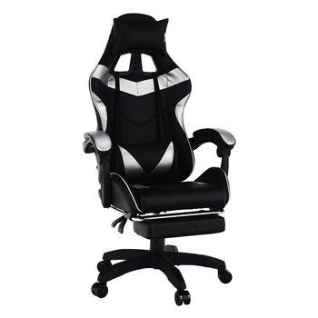 Kancelárske/herné kreslo, čierna/strieborná, KRISTOF NEW
