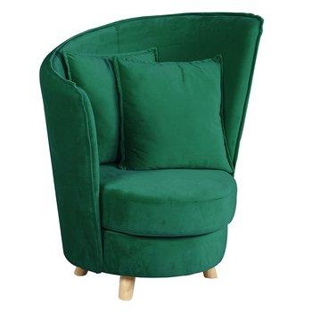 Kreslo v štýle Art Deco, smaragdová Velvet látka/dub, ROUND
