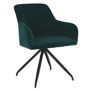 Otočná stolička, zelená Velvet látka/čierna, VELEZA