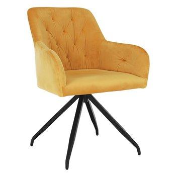 Otočná stolička, horčicová Velvet látka/čierna, VELEZA
