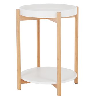 Príručný stolík, biela/prírodná, KABRA