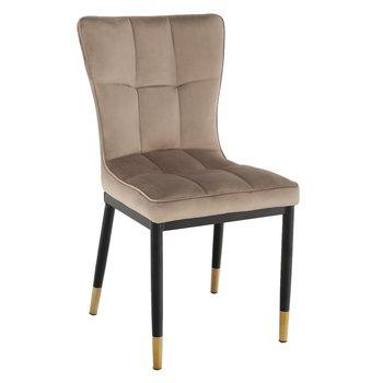 Dizajnová jedálenská stolička, béžová Velvet látka, EPONA