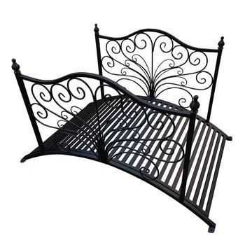 Dekoratívny záhradný mostík, čierny kov, FRIEDL