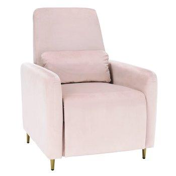 Relaxačné polohovacie kreslo, púdrovo ružová Velvet látka, NAURO