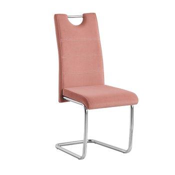 Jedálenská stolička, ružová Velvet látka/svetlé šitie, ABIRA NEW