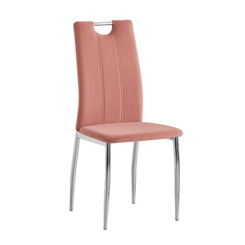 Jedálenská stolička, ružová Velvet látka/chróm, OLIVA NEW