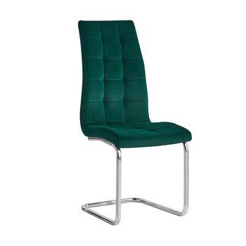 Jedálenská stolička, smaragdová Velvet látka/chróm, SALOMA NEW