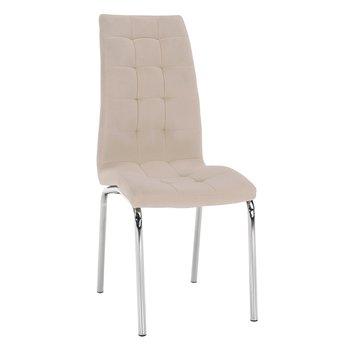 Jedálenská stolička, béžová Dulux Velvet látka/chróm, GERDA NEW