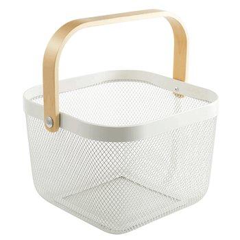 Kovový košík s rúčkou, biela, KITEN TYP 4