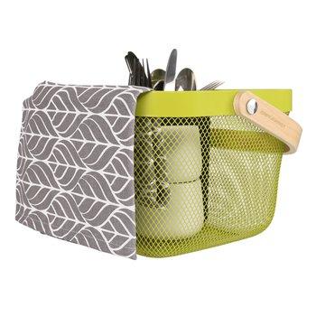 Kovový košík s rúčkou, zelená, KITEN TYP 4