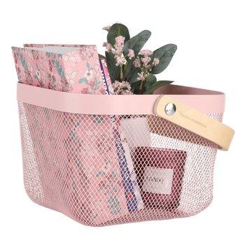 Kovový košík s rúčkou, ružová, KITEN TYP 4