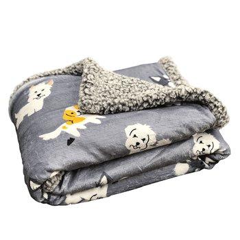 Obojstranná baránková deka, sivá/detský vzor, 80x110cm, PETES