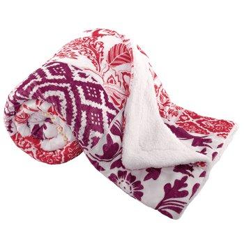 Obojstranná baránková deka, fialová/červená/žltá/vzor, 150x200cm, VILNUS TYP2