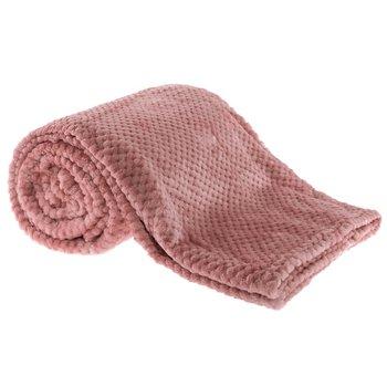 Plyšová kockovaná deka, ružová, 160x200cm, ENNIS